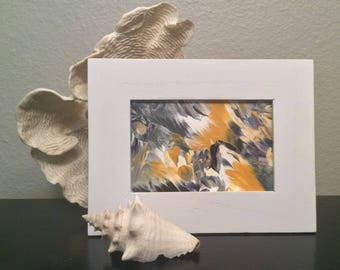 Small bedroom art | framed abstract canvas | fluid painting | mini abstract painting | shelf decor | yellow gray abstract | framed wall art