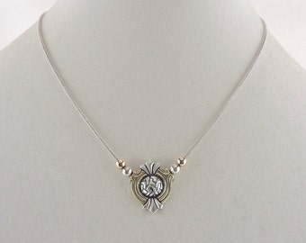 """Sterling Silver Two Tone Necklace 17"""""""