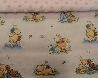 Winnie the Pooh Pink Minkee Dot Backed Blanket!!! Beautiful Baby Gift **Bassinet Cradle Moses Basket Capsule Size** 75cm  x 55cm