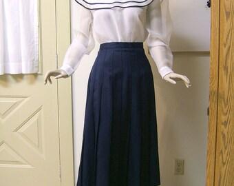 Vintage Navy Pleated Skirt   Long Blue Skirt   Polyester Skirt   Size 14