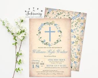 Boy Baptism Invitation, Blue Floral Boy Christening Invitation, 1st Holy Communion Invitation Invite Printable No.39BAPTISMBOY