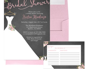 Bridal Shower Invitations with Wedding Dress - Pink Floral Bridal Shower - Chalkboard and Pink Bridal Shower Invitation -  Bridal-104