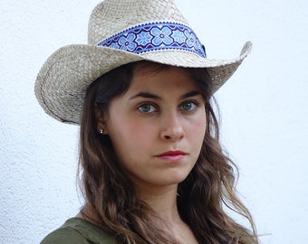 Cowboy hat , decorated with a vintage jacquard woven ribbon , Unisex sun hat.