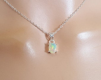Opal Pendant Necklace | Genuine Opal | Natural Gemstone | Minimalist Bridal Jewelry | Dainty Jewelry
