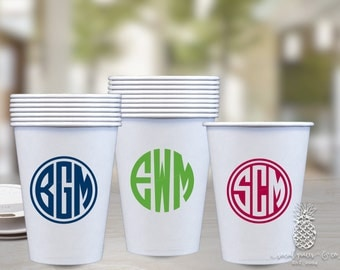 Personalized Paper Coffee Cups | Monogrammed Traveling Disposable Cup of Joe | Preppy Circle Monograms