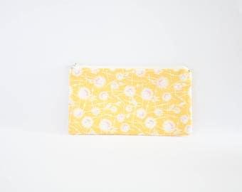 Small Floral Zipper Pouch, Zipper Bag, Makeup Pouch, Cosmetic Pouch, Coin Purse, Bag Storage Organiser - Yellow Dandelions