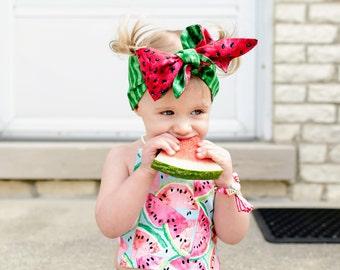 Reversible Summer Watermelon Head Wrap, Fruit Headwrap Baby, Watermelon Baby Headband, Watermelon Bow headband, Summer Photo Prop, Fruit Bow