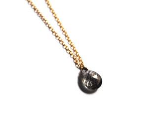 Rutilated Quartz Necklace, 14kt Gold Chain Necklace, Briolette necklace, Rutilated Quartz necklace, Briolette necklace