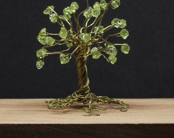 Wire tree sculpture, gemstone tree, peridot tree, wire wrap tree, miniature tree, wire tree of life, peridot birthstone gift