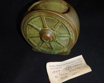 Rare Vintage Frankoma Wagon Wheel Vase/ Prairie Green Frankoma Wagon Wheel Vase/ Frankoma Wagon Wheel Small Vase/ Frankoma 94K