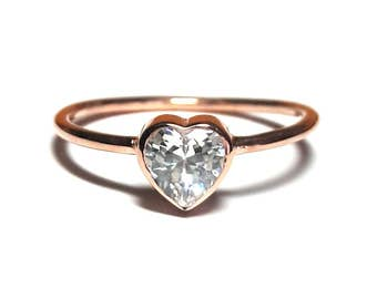 Heart Ring-Gold Ring-Diamond Ring-Rose Gold Ring-925K Silver Zirconia Heart Ring