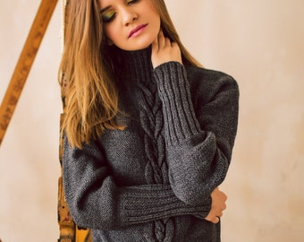 Cable Knit Sweater, Oversized Sweater, Women Turtleneck Aran Sweater, Women Sweater, Grey Knitted Sweater, Knitted Sweater, Loose Wool Knit