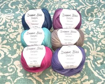Debbie Bliss DELPHI + 3 Free Patterns 5.50 +.1.25ea Ship 8 Colors! New: Pool 8 & Terracotta 12. Soft Bulky Tonal Cotton Ribbon Yarn.