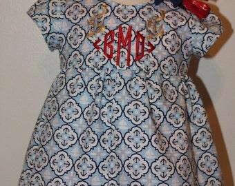 Sailor dress,Baby girl Blue anchor sun dress, Nautical dress, Natical headband, Red, White and Blue, Fourth of July dress,Monogram dress