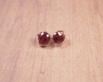 Natural moss earrings. Glass globe earrings. Real moss earrings. Gift ideas. Mori girl style. Natural earrings. Crystal button earrings.