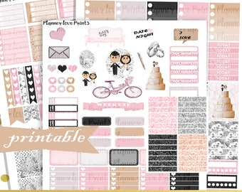 50% off WEDDING DAY deluxe PRINTABLE Planner Stickers | Instant Download | Pdf and Jpg Forma
