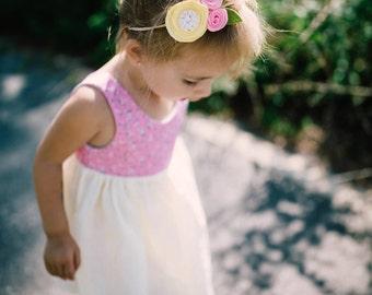 Pink Lemonade Bow - Baby Bows - Baby Girl - Rose Flower Crown