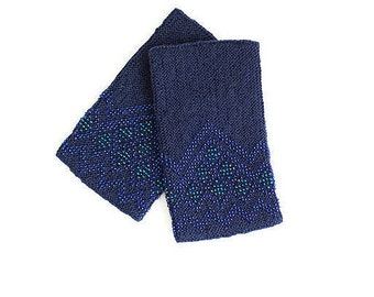 Blue color wrist warmers / arm warmers decorated with blue beads and crystals with Swarovski elelements