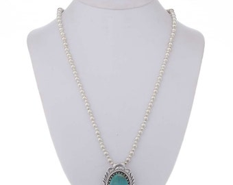 Blue Green Turquoise Sterling Pendant With Bead Necklace