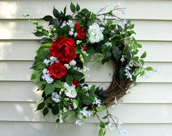 red wreath ,Summer door wreath ,wedding wreath ,rose wreath, peony wreath ,floral door wreath ,spring wreath ,country home, red peony ,su