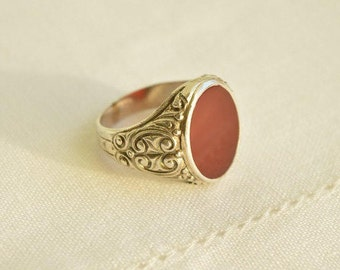 Chunky Antique CARNELIAN Silver 835 Signet RING, Men Ring, Carnelian Ring, Antique Ring Size 11