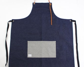 Handmade 12oz Denim Apron (100% leather neck strap)