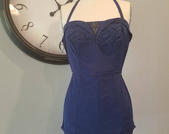 RARE Vintage 1940's Navy Blue Maillot Bathing Suit | Par-Foam 40's 50's Exquisite Halter Top | Pin Up Swim Suit | Size XS