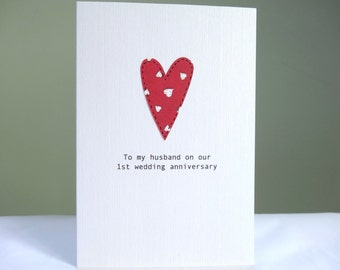 1st Anniversary Card - personalised wedding anniversary card - red heart paper anniversary - husband card wife - free uk delivery
