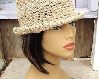 ALISTER Natural Hemp Twine Crochet Womens Fedora Hat,  Floppy Sun Hat Women,  Floppy Hat,  Hemp Hat