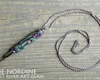 Handmade Art Glass Reversible Seam Ripper Necklace . Abstract . Blue Purple . Lampwork . Julie Nordine . Credit River Art Glass . SR111