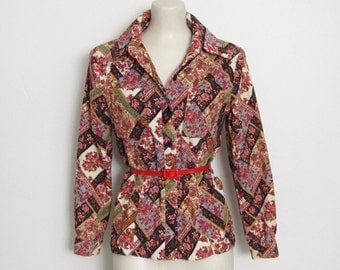 Vintage 1970s Corduroy Shirt / Floral Print Cotton Button-down Jacket / 70s Patterned Top