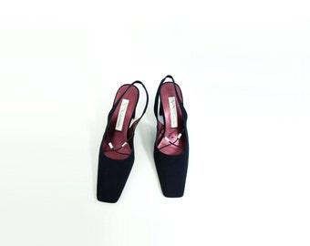 90s Black Satin Pump Vintage Black Heel Jeweled Black Shoes 90s Black High Heel 90s Slingback Heel 90s Square Toe Pump Black Formal Shoe 7.5