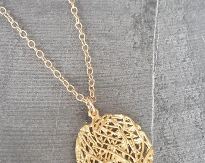 Filigree Necklace, Gold Filigree Necklace, Gold Filigree Pendant Necklace, Filigree Pendant, Gold Filigree Pendant