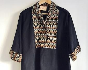 Southwestern Hippy Tunic Desert Pullover Black Cotton Baja Hoodie Woven Fabric Dashiki Collared Blouse Jerga Poncho Cropped Oversize Sz. M/L