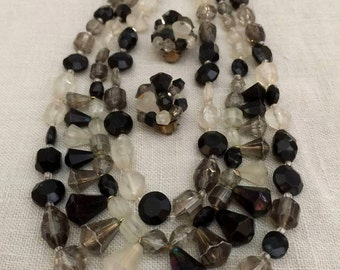 Vintage 1960's Smoky Necklace and Earring Set, West Germany Jewelry, Costume Jewelry, Retro, Mod
