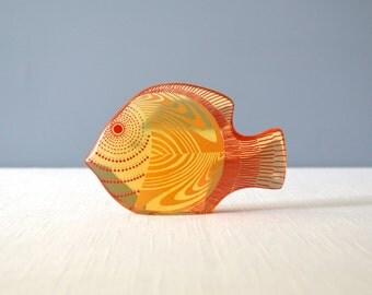 Vintage Large Abraham Palatnik Lucite Angel Fish Figurine
