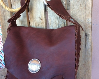 Southwestern Large Handmade Brown Leather Messenger Bag made in AZ USA