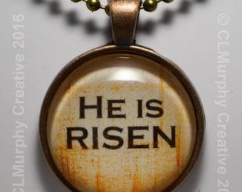 He Is Risen Custom Hand Art Easter Necklace Pendant Jewelry Round Believer Pendant C L Murphy Creative