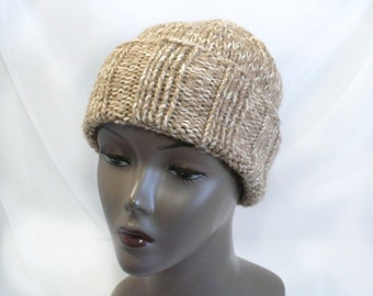 Tan Watchcap or Slouchy Beanie - Man's Hand Knit Winter Hat, Chunky Knit Convertible Hat, Handmade in USA, Ready to Ship