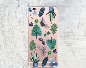 Slim case for iPhone 7 Clear case for iPhone 7 Plus Case for iPhone SE botanical Transparent rubber case for iPhone 7 plants trees acorns