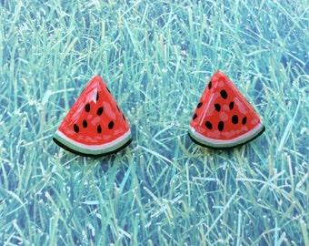 Watermelon Slice Earrings, Stud Earrings, Large Stud Earrings, Statement Earrings, Painted Wood Earrings, Wood Studs, Fruit Studs