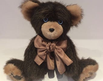 Real Fur Bears - Indiana, the Blue-Eyed Beaver and Mink Real Fur Teddy Bear - Recycled Fur