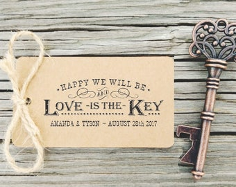Key Bottle Openers Tag Rubber Stamp, Love is the Key, Rustic Wedding Favors, Vintage Keys Stamp, Key Tags, Keys, Wedding Stamps, CS-10311