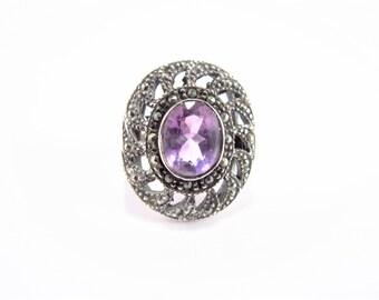 Vintage Sterling Marcasite Amethyst Ring Size 8