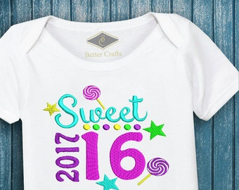 50% OFF | Sweet 16 | Machine Embroidery Applique Design 4 Sizes