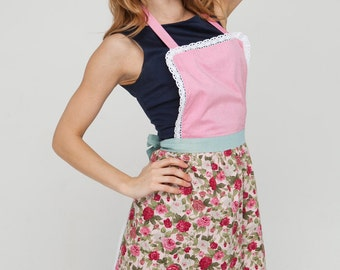 Kids Aprons, Childrens Aprons, Girls Aprons Set, Toddler Pinny, Childs Apron, Pink Floral Aprons, Mother Daughter Aprons, Gifts for Girls