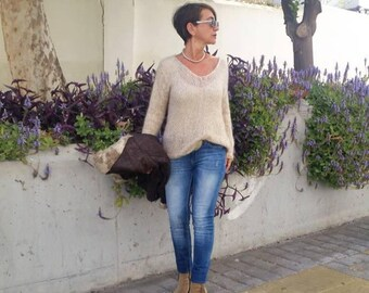 Mohair sweater, loose knit sweater, knit jumper, neutral clothing, natural fibers, hand knit pullover, transitional clothing