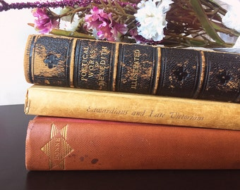 1900s BOOK BUNDLE DECOR - Book Themed Wedding, Vintage Decor, Love, Centerpiece, Old Bookstack, Antique, Rustic, Red, Farmhouse, Shabby Chic