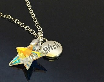 Wish Upon A Star necklace, Swarovski crystal Sterling silver necklace