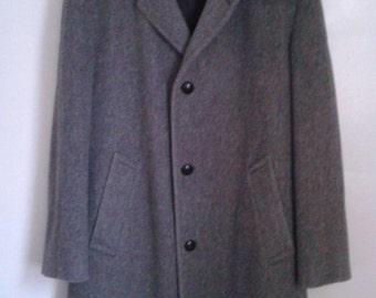 Vintage 1960's Zero King Grey Wool Coat Overcoat Sz 42 Classic Mod